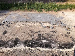 Fundamente mit Plattenbelag und Bitumen (?) © Foto: IPP (abs)